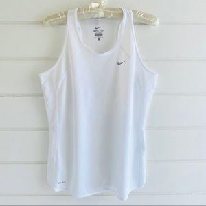 Nike Dri Fit Mesh White Tank Top Size Large EUC